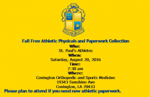2016 Fall Physicals